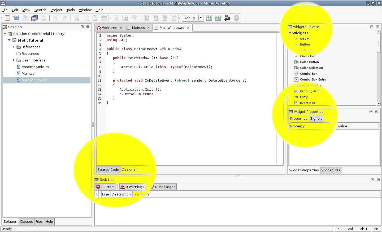 Stetic GUI Designer | MonoDevelop