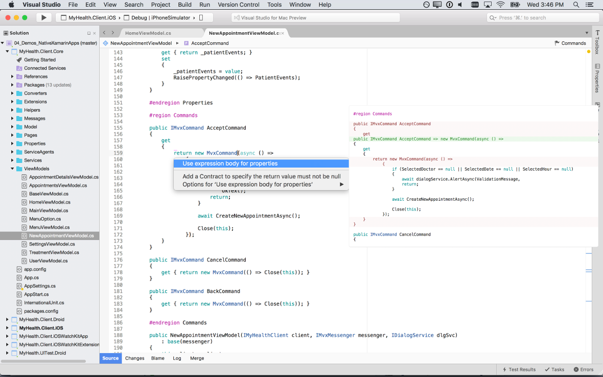 Screenshot of Visual Studio for Mac